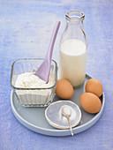 Ingredients for making pancake batter