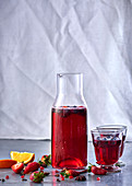 Berry sangria with oranges