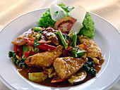 Pla Phad Cha (stir fry with fish and red curry, Thailand)