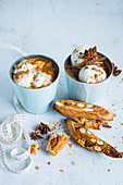 Wintry iced coffee with cantuccini