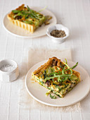 Mushrooms and rocket tart