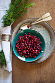 Pomegranate seed salad with feta cheese