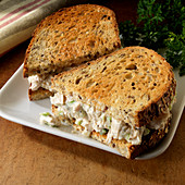 Chicken salad sandwich on toasted multigrain bread