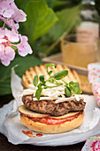 Wild boar burgers with tomato relish, apple and kohlrabi