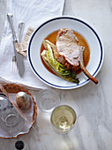 Pork chop with braised lettuce