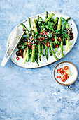 Stir-fried asparagus with sticky chinese sauce