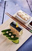 Maki sushi with hake