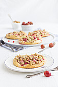 Summer yeast dough cakes with gooseberries, redcurrants and oat crumbles