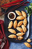 Spicy chicken puffs with ponzu dipping sauce (Asia)