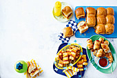 Cheat's meatball slider pull-apart; frankfurts in blankets; cripsy potato, ham and cheese skewers