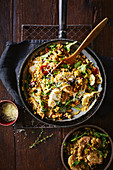 Artichoke, chicken and freekeh risotto
