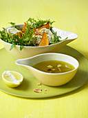 Pumpkin and rocket salad with goat's cheese and lemon dressing