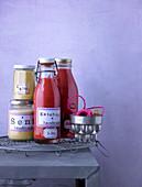 Homemade mustard and tomato ketchup