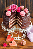 Chocolate sponge cake with mascarpone cream and macaroons