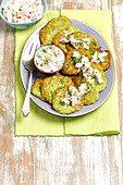Broccoli fritters with raita