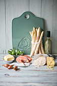 Ingredients for asparagus risotto with salmon steak