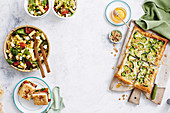 Corn, bacon and fetta pasta salad - vegie-stuffed focaccia - broccoli walnut tart