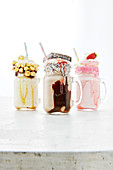 Three Freak Shake with salted caramel, Lamington and strawberry cupcake