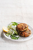 Sweet potato and salmon cakes with fennel salad