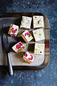 Tangy lime and raspberry bars