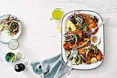 Shortcut cheesy chicken schnitzels with silverbeet slaw