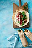 Zucchini and halmoumi falafel rolls