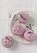 Lavender cupcakes on a plate