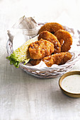Fried chicken and pineapple with buttermilk dressing