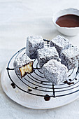 Lamington with stevia and raw cacao