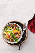 Ham and mango rice noodle salad
