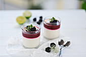 Blackberry and lime curd with coconut and cashew yoghurt-cream in glasses (vegan)