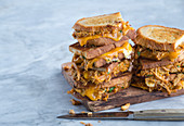 Grilled chicken and cheese sandwiches with buffalo sauce
