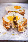 Croque Madame, sliced