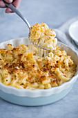 Macaroni cheese (pasta bake) in a casserole dish