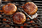 Grilled mushroom steaks with a honey balsamic glaze