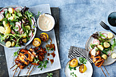 Portuguese chicken skewers with potato salad