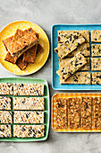 Coconut, sesame and sultana bars; Date, oat and nut bars; Blueberry and almond muesli bars; Cranberry and lemon quinoa bars