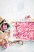 Raspberry and turkish delight coconut ice slab