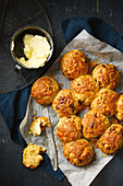 Caramelised onion and cheddar damper rolls