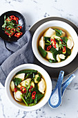 Vegetable and dumpling short soup