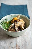 Amaranth risotto with portobello mushrooms (vegan)