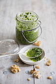 Homemade rocket pesto with walnuts (vegan)