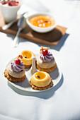 Various petit four on a dessert plate