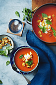 Roast Capsicum and tomato soup with garlic croutons