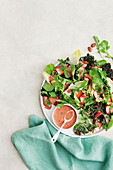 Green leaf salad with strawberry balsamic vinaigrette