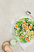 Zucchini and sugarsnap pea salad with goddes green dressing