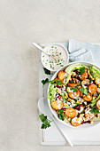 Roast potato salad with spicy buttermilk dressing
