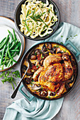 Fried chicken stroganoff with tagliatelle and green beans