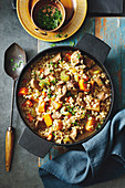 Lamb, barley, and vegetable stew