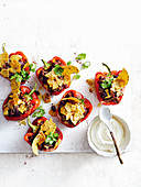 Oven-roasted capsicums stuffed with hearty beef chilli and nachos